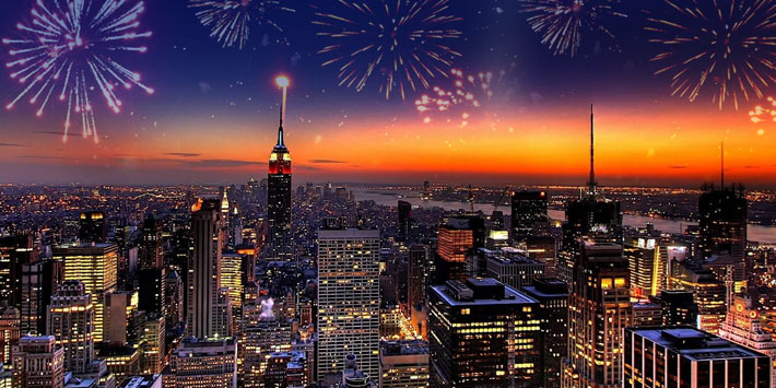 Celebrate the New Year's eve in New York City, NY